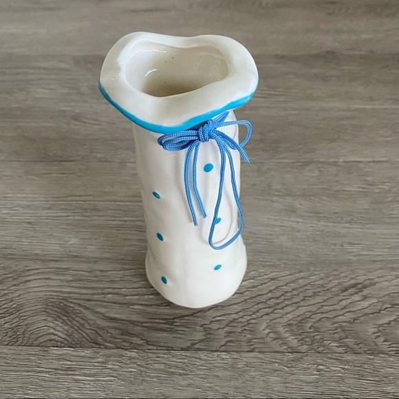 Vintage Ceramic Glazed Polka Dot Vase